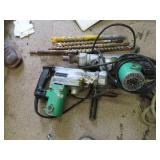 Two Hitachi hammer drills and bits