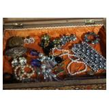 Box of costume jewelry, nice lot of costume items