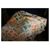 Vintage hand made quilt  lovely colors    78x72