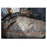 Handknotted rug  Oriental   86 x 44 worn and needg