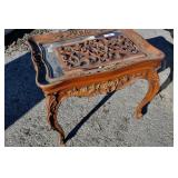 Vintage ornate wood w glass top table