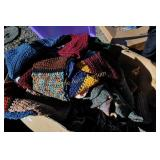 Box & Bin of knitted items lots of them clean