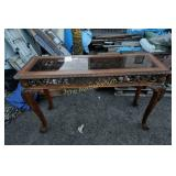 Vintage claw foot side table w/ glass top