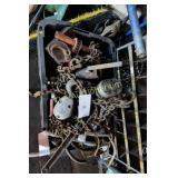 Bin w/ chain hoist & binders asst items