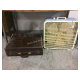 Vintage suitcase & fan