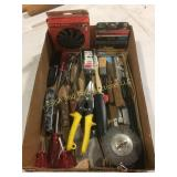 Misc flat of tools including a wire wheel