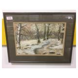 Canvas painting of a forest path in winter