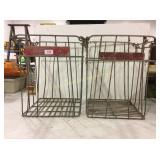Vintage metal dairy crates