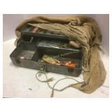 Old Galvanized Metal Tackle Box & Seine Net