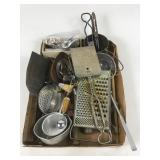Box lot including vintage kitchen utensils