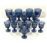 Set of 14 Blue Glass Goblets