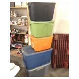 Lot of Five Plastic Totes
