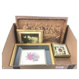 Small framed prints, chalkware plaque