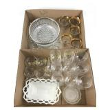 2 boxes assorted glassware