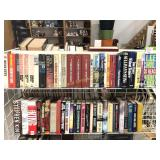 Two Shelves of Hard Cover Fiction Books