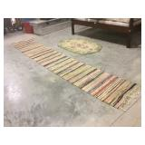 Long rag rug and oval floor rug