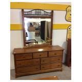 Wood Dresser Mirror Combo