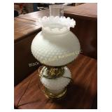 Hobnail Milk Glass Table Lamp