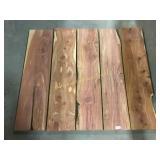 5 fresh cut cedar boards