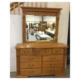 Oak dresser with attached mirror