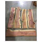 5 fresh cut red cedar slabs