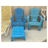 2 plastic blue chairs with 1 foot rest