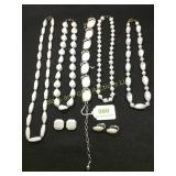 White necklaces, choker, earring assortment