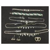 Lot: rhinestone jewelry items