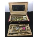 Vintage jewelry box and all the treasures inside
