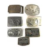 Lot of Seven Collectible Belt Buckles
