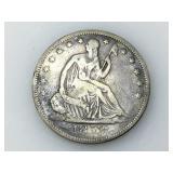 1853 Seated Liberty half dollar, VG+
