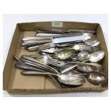 Flat of silverplated flatware