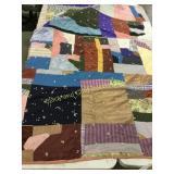 Vintage crazy quilt  bark cloth backing