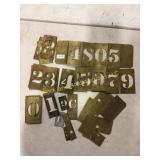 Vintage brass number stencils