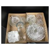 Box lot including vintage clear glass