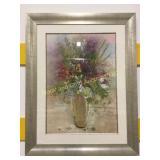 Framed Vase with flowers print