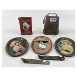 Coca Cola trays, metal cow bell & more