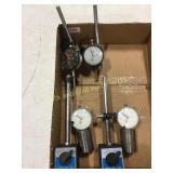 4 Dial Indicators / 2 Bases