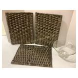 Wicker Serving Tray and Glass Bowl