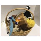 Wicker Basket of Stuffed Animals