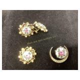Vintage Rose Guilloche pin & earrings set