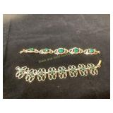 Vintage link bracelets with emeral stones