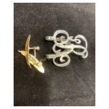 Sterling initial shoe clip & earrings