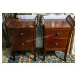 Pair: lovely walnut finish night stands
