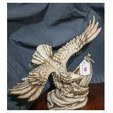 Resin perched eagle figurine