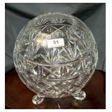 Lead crystal giant footed rose bowl