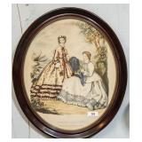Framed oval print of Victorian ladies