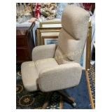Beige padded office arm chair