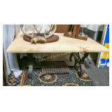 Treadle sewing machine base table.