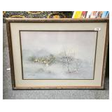 Framed, matted winterscape